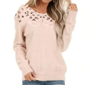 Brand New Lime Lush Lace and baby soft sweater